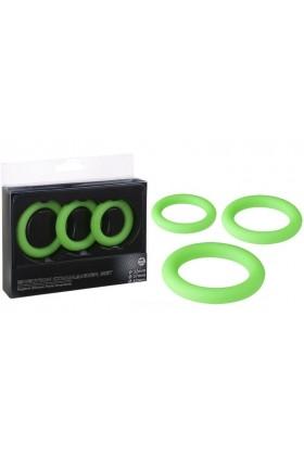 3 cockrings Royal Ornement en silicone vert
